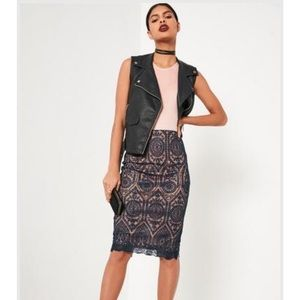 [Missguided] Blue Embroidered Midi Skirt - 12